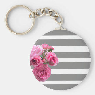 Bouquet of Pink Roses on Grey Stripes Key Ring