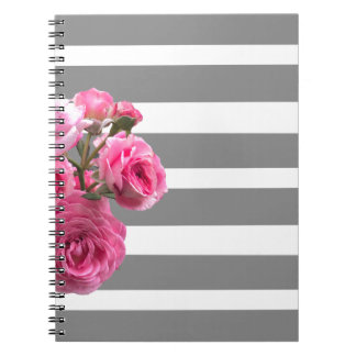 Bouquet of Pink Roses on Grey Stripes Notebook