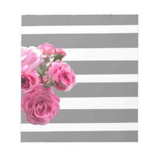 Bouquet of Pink Roses on Grey Stripes Notepad