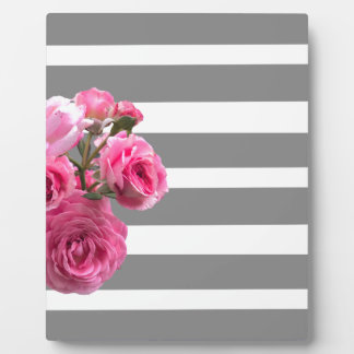 Bouquet of Pink Roses on Grey Stripes Plaque