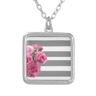 Bouquet of Pink Roses on Grey Stripes Silver Plated Necklace