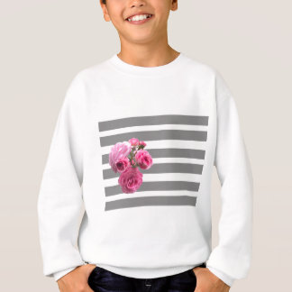 Bouquet of Pink Roses on Grey Stripes Sweatshirt