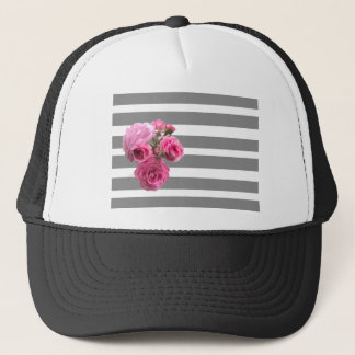 Bouquet of Pink Roses on Grey Stripes Trucker Hat