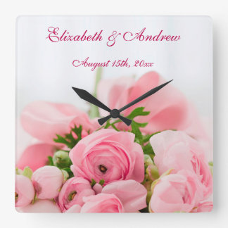 Bouquet Of Pink Roses Wedding Square Wall Clock