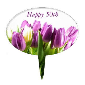 Bouquet of Purple tulips cake topper