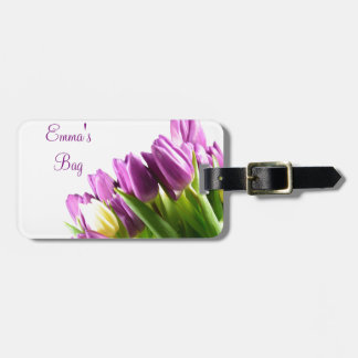 Bouquet of Purple tulips luggage tag