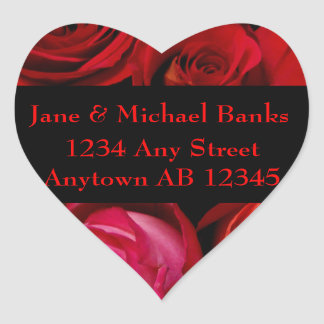 Bouquet of Red Roses Wedding Return Address Label Heart Sticker