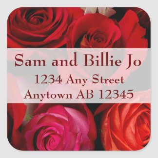 Bouquet of Red Roses Wedding Return Address Label Square Sticker