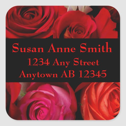 Bouquet of Red Roses Wedding Return Address Square Sticker