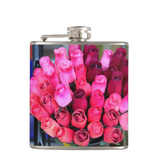 bouquet of roses hip flask