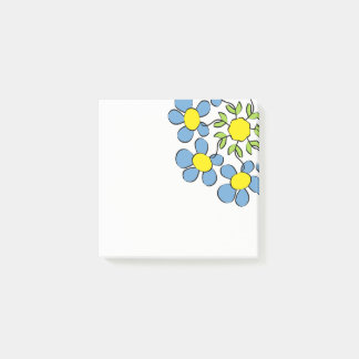 Bouquet of spring flowers post-it notes