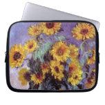 Bouquet of Sunflowers, Monet, Vintage Flowers Art Laptop Sleeve