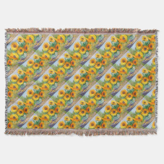 Bouquet of sunflowers throw blanket