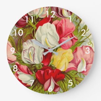 Bouquet of sweet pea flowers large clock