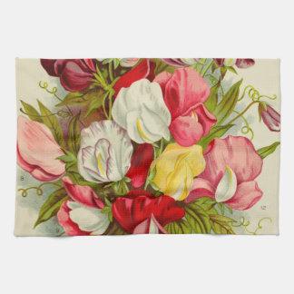 Bouquet of sweet pea flowers tea towel