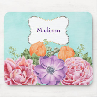 Bouquet of Watercolor Flowers Pink Purple Orange Mouse Pad