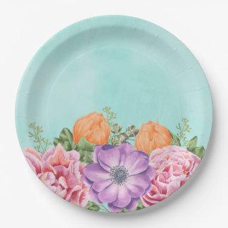 Bouquet of Watercolor Flowers Pink Purple Orange Paper Plate