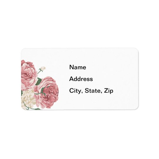 Bouquet of White and Pink Roses Label