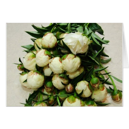 Bouquet of White Peony Buds Notecard