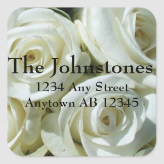 Bouquet of White Roses Wedding Return Address Square Sticker