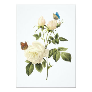 Bouquet of White Roses with Butterflies Invitation