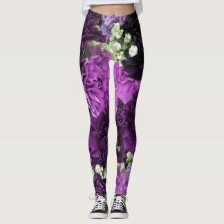 Bouquet Purple Carnations Leggings