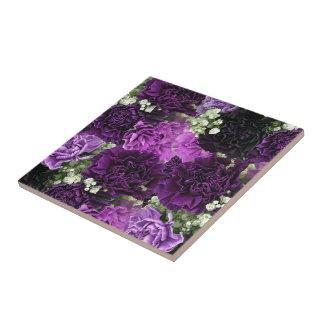 Bouquet Purple Carnations Small Square Tile