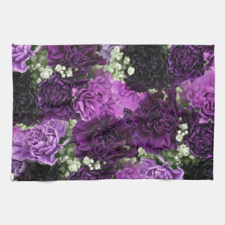 Bouquet Purple Carnations Tea Towel