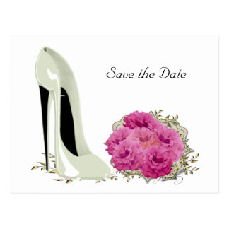 Bouquet Roses and Wedding Stiletto Gifts Postcard