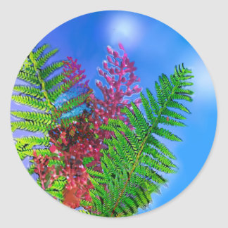 Bouquet with ferns classic round sticker