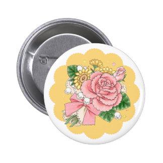Bouquet (yellow) 6 cm round badge