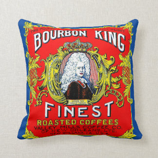 Bourbon King Finest Roasted Coffees Throw Pillow