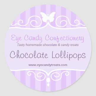Boutique candy shop purple food round stickers