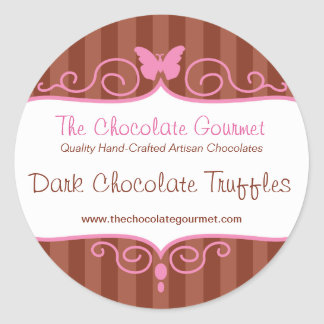 Boutique chocolate shop stripe candy round sticker