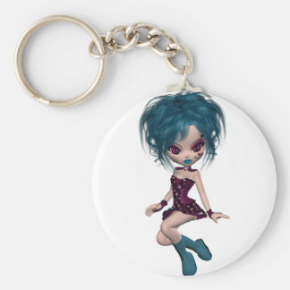 Boutique Gothique Mascot Goth Girl 9 Basic Round Button Key Ring