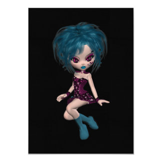 "Boutique Gothique Mascot Goth Girl 9 4.5"" X 6.25"" Invitation Card"