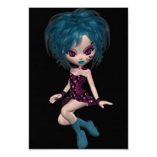 "Boutique Gothique Mascot Goth Girl 9 3.5"" X 5"" Invitation Card"