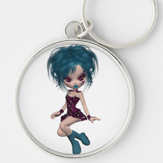 Boutique Gothique Mascot Goth Girl 9 Silver-Colored Round Key Ring