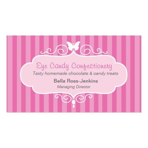 Boutique shop candy pink stripe business card