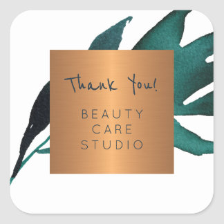 Boutique studio copper metallic leaves thank you square sticker