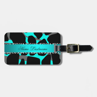 Boutique Teal Blue Gray Leopard Cow Print Luggage Tag