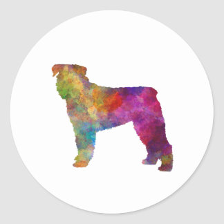 Bouvier DES Flanders in watercolor Round Sticker