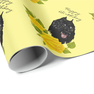 Bouvier des Flandres on Yellow Roses Wrapping Paper