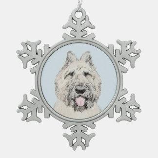 Bouvier des Flandres Painting - Original Dog Art Snowflake Pewter Christmas Ornament