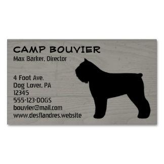 Bouvier des Flandres Silhouette Wood Grain Magnetic Business Cards