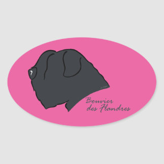 Bouvier of the Flandres head silhouette Oval Sticker