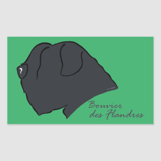 Bouvier of the Flandres head silhouette Rectangular Sticker