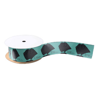 Bouvier of the Flandres head silhouette Satin Ribbon
