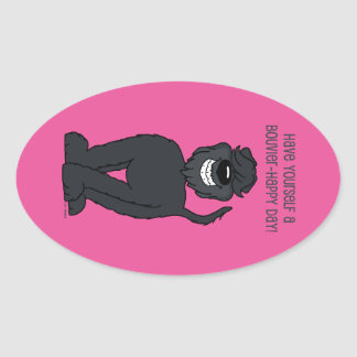 Bouvier Smile Oval Sticker