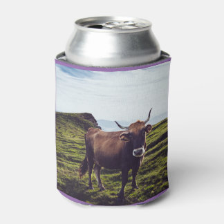 Bovine Cow on Beautiful Landscape Can Cooler